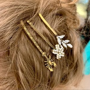 Anthropologie gold Bobbie pin trio